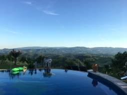 Pink's swimming pool (the view is Slovenia!)