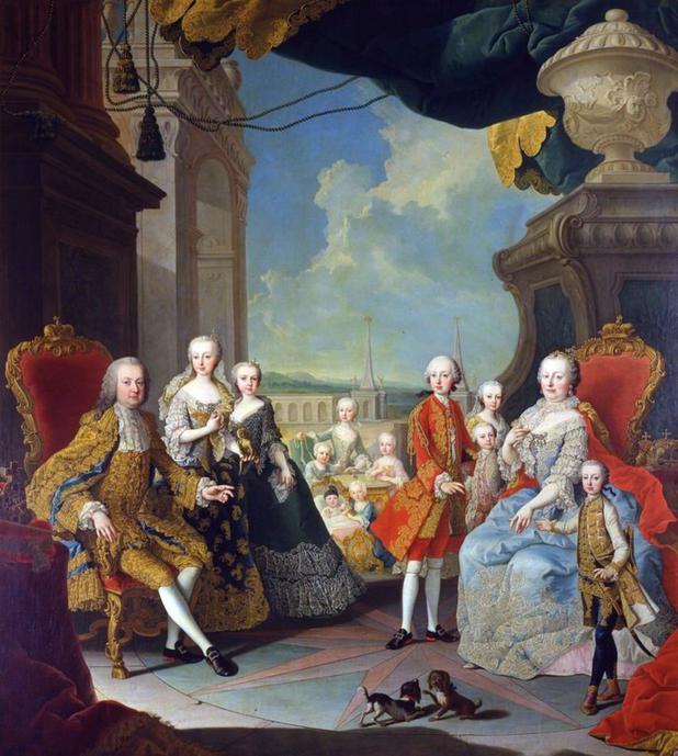 Maria Theresia von Österreich und Franz Stephan von Lothringen im Kreise ihrer Kinder. Der zukünftige Joseph II